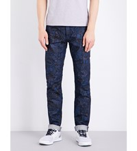 Kenzo Graphic Print Mid Rise Jeans Navy Blue