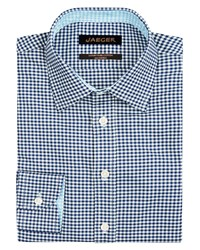 Jaeger Textured Gingham Modern Shirt Navy