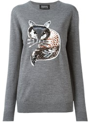 Markus Lupfer Sequin Fox Detail Sweater Grey