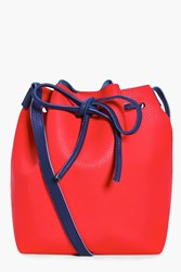 Boohoo Annabelle Colourblock Tie Duffle Bag Red