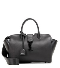 Saint Laurent Baby Cabas Monogram Leather Tote Black