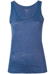 Majestic Filatures Round Neck Tank Women Linen Flax 4 Blue