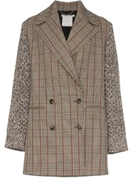 Stella Mccartney Double Breasted Checked Coat Brown