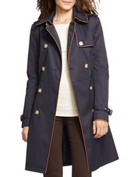 Lauren Ralph Lauren Faux Leather Trim Double Breasted Trench Coat Capri Navy Blue