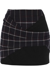 Thakoon Jersey Paneled Plaid Twill Mini Skirt