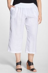 Allen Allen Crop Linen Pants Plus Size White