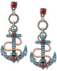 Betsey Johnson Silver Tone Blue Enamel Pave Anchor Drop Earrings