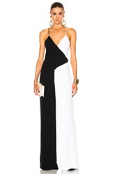 Cushnie Et Ochs Two Tone Wide Leg Jumpsuit In Black White Black White