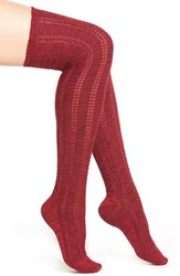 Women's Free People 'Fray' Openwork Knit Over The Knee Socks Red