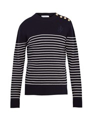 J.W.Anderson Button Detail Striped Wool Sweater Navy