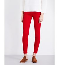 7 For All Mankind The Skinny Super Skinny Sateen Jeans Rich Sateen Red