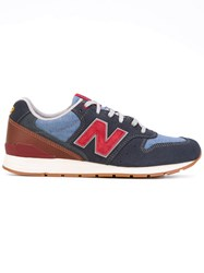 New Balance Denim Patched Trainers Men Cotton Suede Polyester Rubber 9.5 Blue