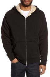 Vince Men's Faux Shearling Zip Hoodie Black