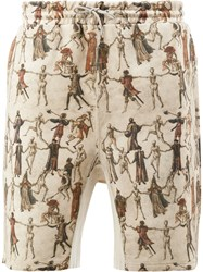 Undercover Dancing Skeleton Print Shorts Brown