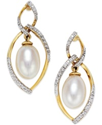 Macy's Cultured Freshwater Pearl 7Mm And Diamond 1 4 Ct. T.W. Drop Earrings In 14K Gold