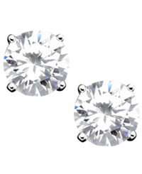 B. Brilliant Sterling Silver Cubic Zirconia Stud Earrings 4 Ct. T.W.