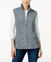 Karen Scott Fleece Zip Front Vest Only At Macy's Smoke Grey Heather