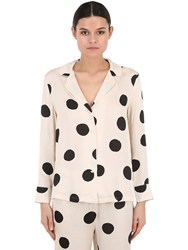 Love Stories Polka Dot Satin Pajama Shirt Array 0X58111e8