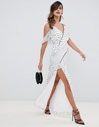 The Jetset Diaries Zoey Multi Spot Ruffle Maxi Dress Zoey Polka Dot
