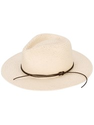 Rag And Bone Packable Straw Fedora Hat Women Paper Polyester M Nude Neutrals