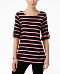 Cable And Gauge Striped Knit Tee Black Aurora Pink