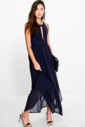 Boohoo Pleat Detail Keyhole Chiffon Maxi Dress Navy