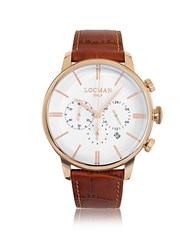 Locman 1960 Rose Gold Pvd Stainless Steel Men's Chronograph Watch W Brown Croco Embossed Leather Strap