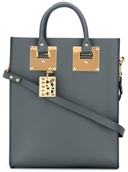 Sophie Hulme Stylised Stud Detail Shoulder Bag Grey