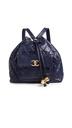 Wgaca What Goes Around Comes Around Chanel Large Backpack Navy