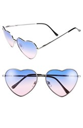 Junior Women's Bp. Heart Shaped 58Mm Sunglasses Ombre Purple Blue Silver