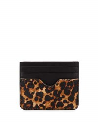 Neiman Marcus Leopard Print Calf Hair Card Case Natural Bl