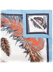 Emilio Pucci Feather Print Scarf Blue