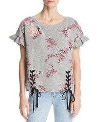 Billy T Lace Up Sweatshirt Top Gray Cherry Blossom