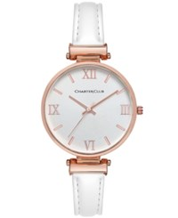 Charter Club Women's White Imitation Leather Strap Watch 36Mm Only At Macy's