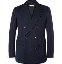 Dries Van Noten Navy Benz Slim Fit Double Breasted Cotton Pique Blazer Blue