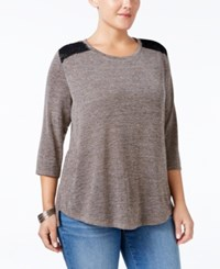 Styleandco. Style Co. Plus Size Lace Back Swing Top Only At Macy's Bastille Grey
