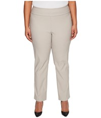 Nic Zoe Plus Size Wonderstretch Pants French Linen Women's Dress Pants Taupe