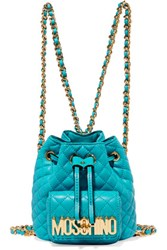 Moschino Quilted Leather Backpack Turquoise