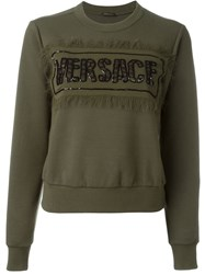 Versace Military Embellished Sweatshirt Green