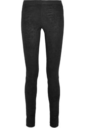 Theory Sintra Stretch Suede Leggings Black