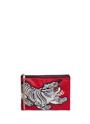 Venna Slogan Tiger Patch Hair Clutch Multi Colour