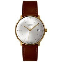 Junghans 027 7700.00 Men's Max Bill Automatic Stainless Steel Leather Strap Watch Camel Silver