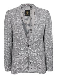 Topman Grey Noose And Monkey Black And White Textured Floral Blazer