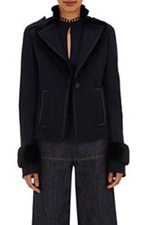 Derek Lam Women's Fur Trimmed Military Jacket Blue
