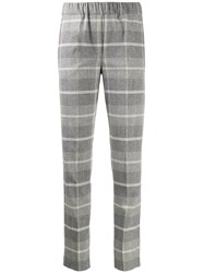 D.Exterior Checked Slim Fit Trousers Grey