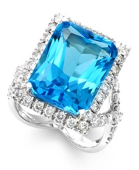 Macy's Blue Topaz 14 Ct. T.W. And Diamond 1 1 3 Ct. T.W. Ring In 14K White Gold