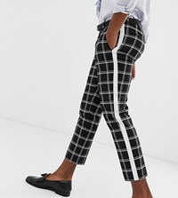 Heart And Dagger Skinny Fit Cropped Trouser With Stripe Black