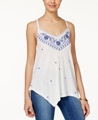 American Rag Embroidered Handkerchief Hem Tank Top Only At Macy's White Combo