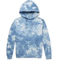 Beams Distressed Tie Dyed Loopback Cotton Jersey Hoodie Blue