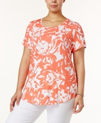 Jm Collection Plus Size Printed Short Sleeve Top Only At Macy's Peach Blown Bloom